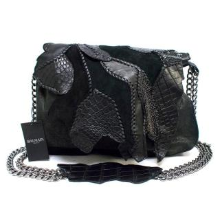 Balmain Black Leather and Crocodile Patchwork Shoulder Bag