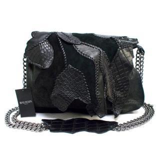 Balmain Black Leather and Crocodile Patchwork Shoulder Bag