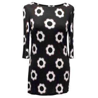 Prada Black Top with Cream Floral Print