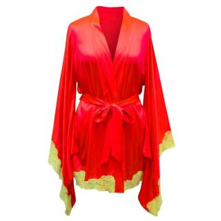 Agent Provocateur Red Silk Robe with Yellow Lace Trim