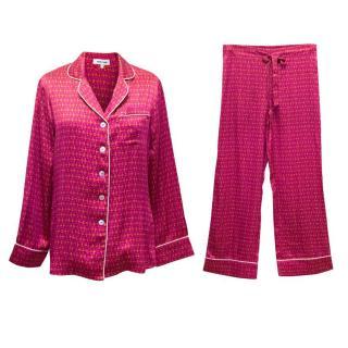 Olivia Von Halle Pink Printed Silk Pyjama Set