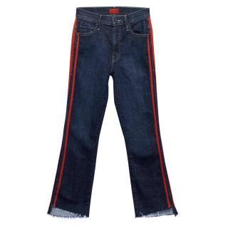 Mother Blue Straight Leg Jeans with a Red Trim