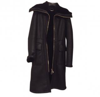 Versace Collection Black Lambskin Zip front Coat