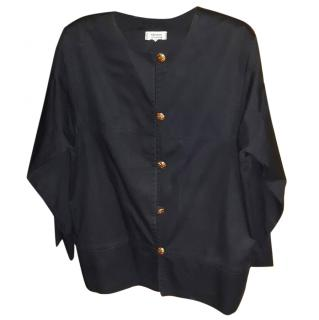 Yves Saint Laurent Black Scoop Button Front Long Sleeves Knit Top