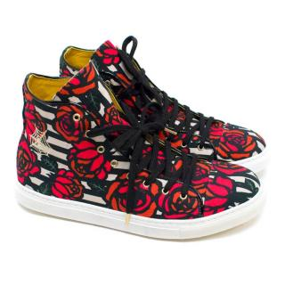 Charlotte Olympia 'Rojo' Rose Print High Top Trainers