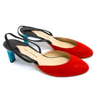 Paul Andrew Celestine Red and Turquoise Slingback Pumps