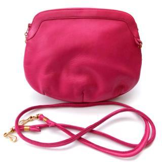 LANVIN Vintage Pink Lamb skin Leather Shoulder Bag.