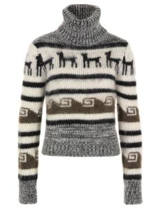 Joseph Aztec style polo neck jumper
