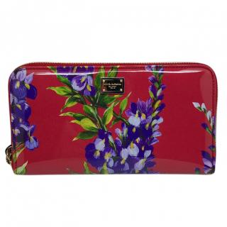 Dolce & gabbana patent leather floral zip around wallet