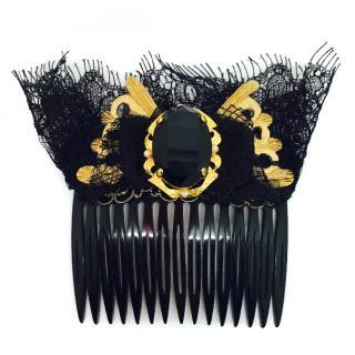Dolce & Gabbana black crystal hair accessory