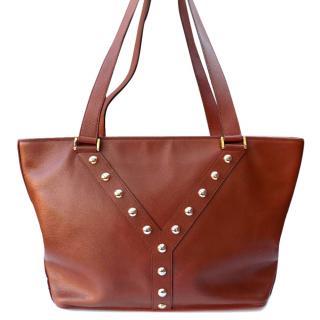 YSL Yves Saint Laurent Vintage Tan Brown Leather Shoulder Bag .