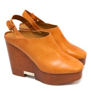 Chloe Tan Platform Wedges