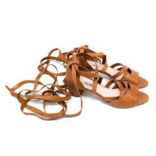 Miu Miu Tan Leather Ankle Wrap Sandals