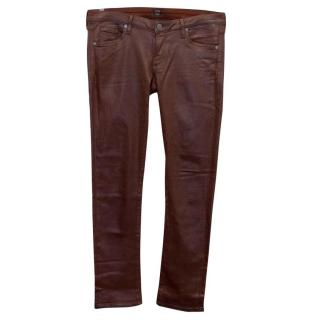 Citizens of Humanity Burgundy Coated Jeans