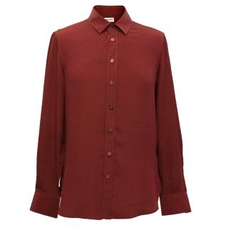 Saint Laurent Red Silk Blouse