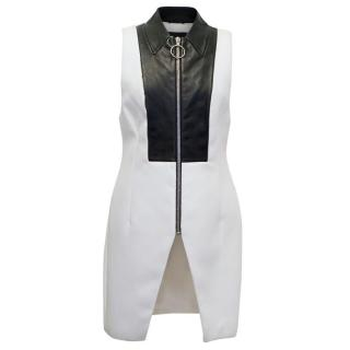 Alexander Wang White Fitted Dress with Leather Panelling