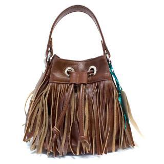 Unisa Small Brown Fringed Bag