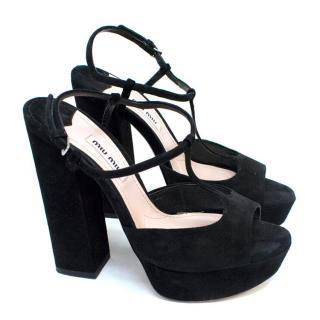 Miu Miu Black Block Heel Sandals