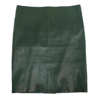 Jitrois Dark Green Leather Mini Skirt