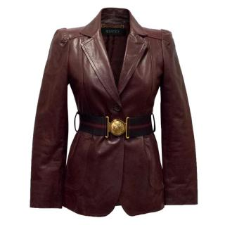 Gucci Burgundy leather Jacket with Belt