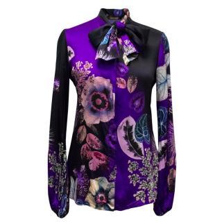 Roberto Cavalli clack, silk button down blouse
