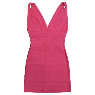 Herve Leger Fuschia Body-Con Mini Dress