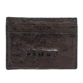 Maisha Brown Faux Ostrich Leather Card Holder
