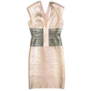 Herve Leger Metallic Rose Gold and Grey Mini Dress