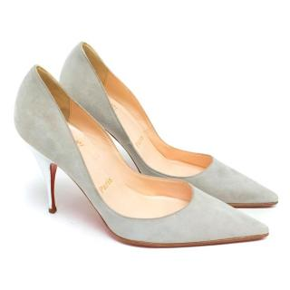 Christian Louboutin Light Grey Suede Pumps