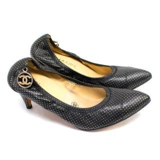 Chanel Black Leather Pumps with Polka Dots