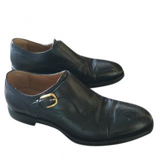 Gucci men's black leather monk shoes