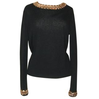 MAJE black linen mix jumper with gold chain trim, size 2