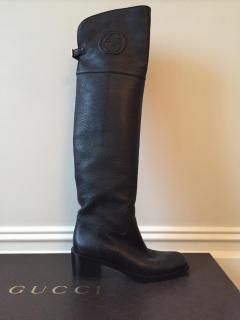 Gucci Black Leather Over The Knee Boots