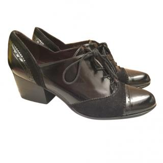 Russell & Bromley Patent and suade loafers