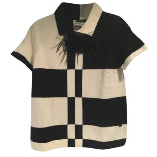 Chanel Short Sleeve Cashmere Polo With Camelia Pin