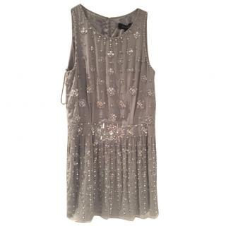 Jenny Packham silver embellished evening dress