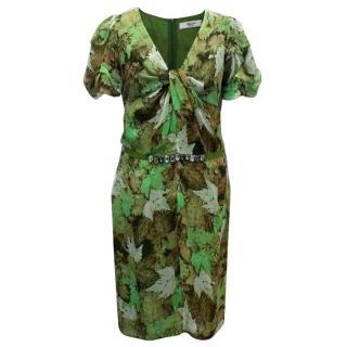 Blugirl Blumarine Green Silk Crepe Dress