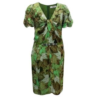 Blugirl Blumarine Green Silk Crepe Dress