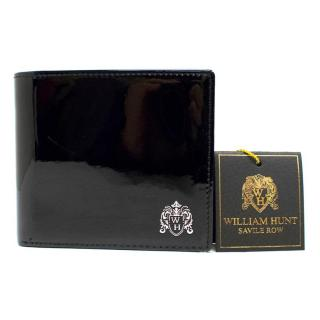 William Hunt Saville Row Black Patent Wallet