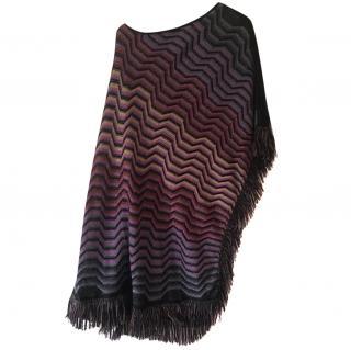 Missoni Purple Chevron Wool Poncho