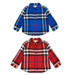 Burberry Red and Blue Long-Sleeve Check Boys Flannel Shirts