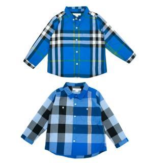Burberry Blue Check Long-Sleeve Boys Shirts