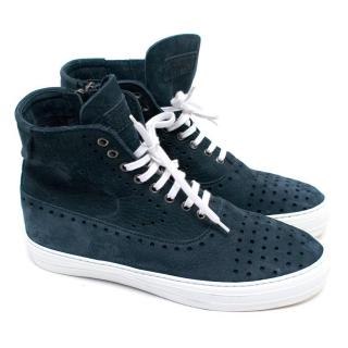 Alexander McQueen Navy and White High-top Sneakers