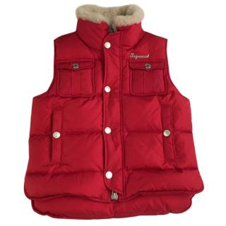 dsquared2 boys red sleeveless puffer/gilet