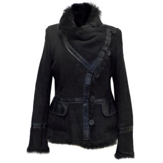 Karl Donoghue Black Suede and Shearling Jacket