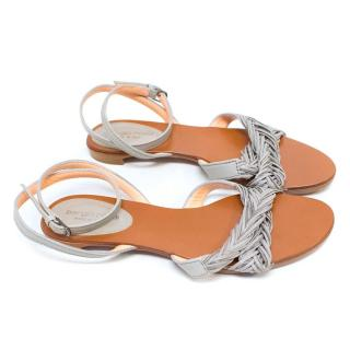 Sergio Rossi Grey with Silver Chain Flat Sandals