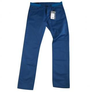 alexander mcqueen coated slim blue jeans