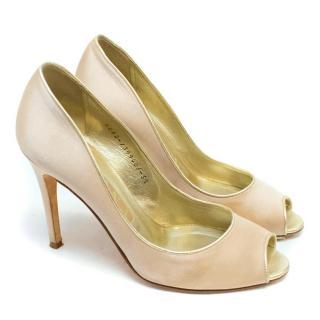 Gina Camel Satin Peep-Toe Heels