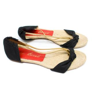 Paloma Barcelo Black and Gold Espadrille Sandals