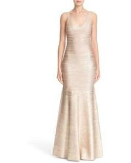 Herve l�ger metallic mermaid gown